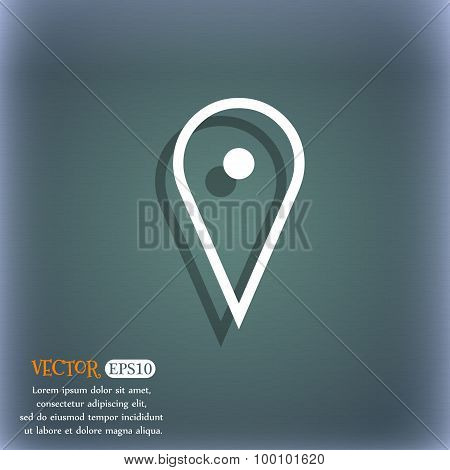 Map Poiner Icon Symbol On The Blue-green Abstract Background With Shadow And Space For Your Text. Ve