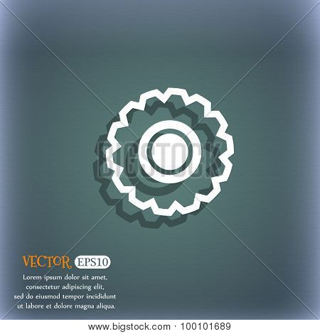Cogwheel Icon Symbol On The Blue-green Abstract Background With Shadow And Space For Your Text. Vect