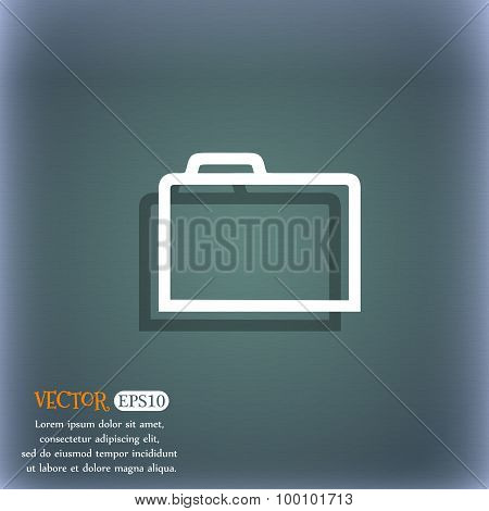 Folder  Icon Symbol On The Blue-green Abstract Background With Shadow And Space For Your Text. Vecto
