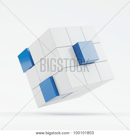 Abstract 3D cube concept with hovering blocks (3D Rendering)