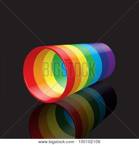 Colorful Rainbow Plastic Cup With Reflection, On Dark Background