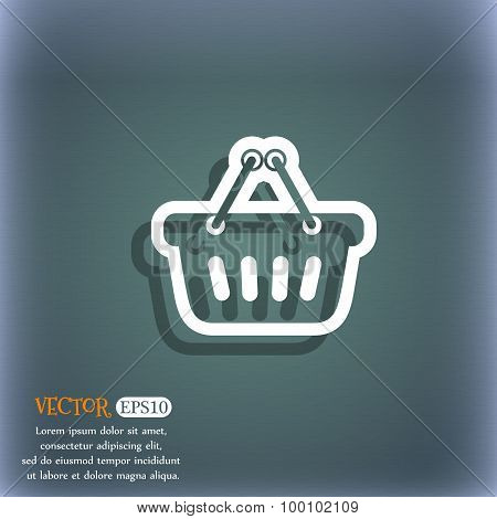 Shopping Cart Icon Symbol On The Blue-green Abstract Background With Shadow And Space For Your Text.