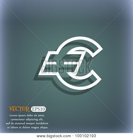Euro Eur Icon Symbol On The Blue-green Abstract Background With Shadow And Space For Your Text. Vect