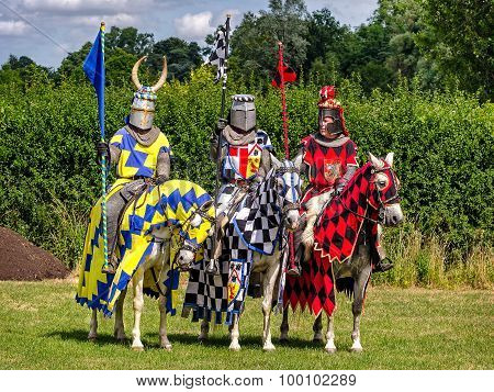Three Knights Are Ready For Tournament Re-enactment