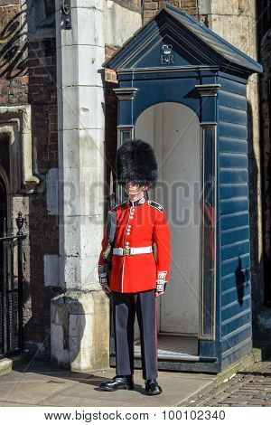 Guard At St. James Palace In London