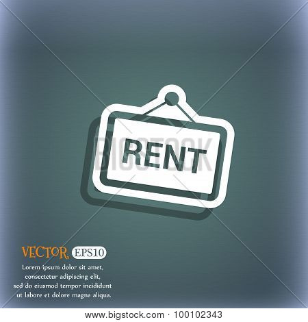 Rent Icon Symbol On The Blue-green Abstract Background With Shadow And Space For Your Text. Vector