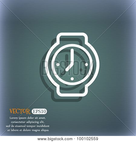Watches Icon Symbol On The Blue-green Abstract Background With Shadow And Space For Your Text. Vecto