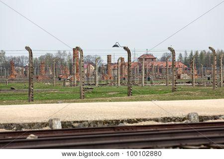 OSWIECIM, POLAND - APRIL 16, 2015: Auschwitz II Birkenau. Poland. The biggest nazi concentration camp in Europe and now the State Museum Auschwitz-Birkenau.