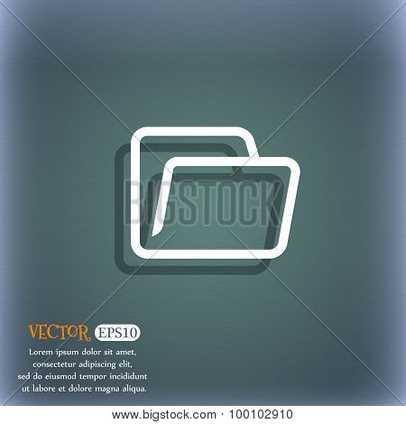 Folder Icon Symbol On The Blue-green Abstract Background With Shadow And Space For Your Text. Vector