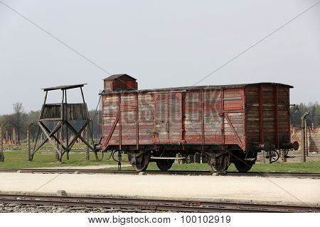 OSWIECIM, POLAND - APRIL 16, 2015: Deportation wagon at Auschwitz Birkenau at Auschwitz Birkenau concentration camp Poland
