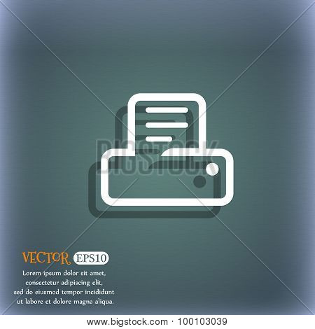 Printing Icon Symbol On The Blue-green Abstract Background With Shadow And Space For Your Text. Vect