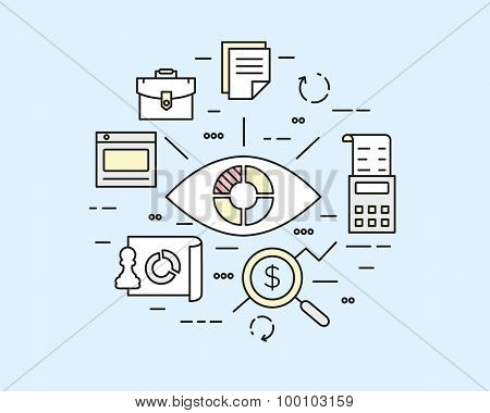 Vector Linear Illustration Of Web Analytics Information, Data Processing And Development Website Sta