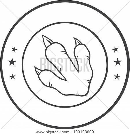 Black And White Dinosaur Paw With Claws Circle Logo Design