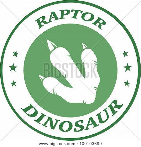 Dinosaur Footprint Green Circle Label Design