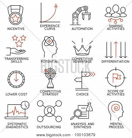 Vector Set Of 16 Icons Related To Business Management - part 4