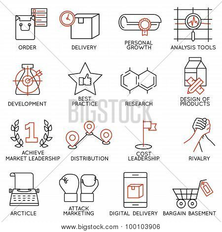 Vector Set Of 16 Icons Related To Business Management - part 8