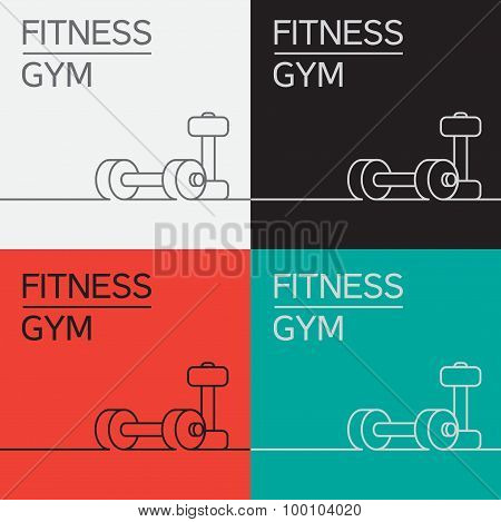 Dumbbell Icon And Background