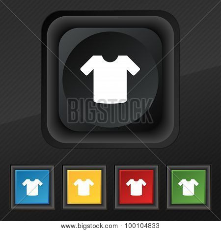 T-shirt, Clothes  Icon Symbol. Set Of Five Colorful, Stylish Buttons On Black Texture For Your Desig