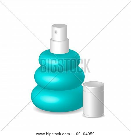Women Perfume In Blue Bottle, Container With Cap, Illustration, Vector