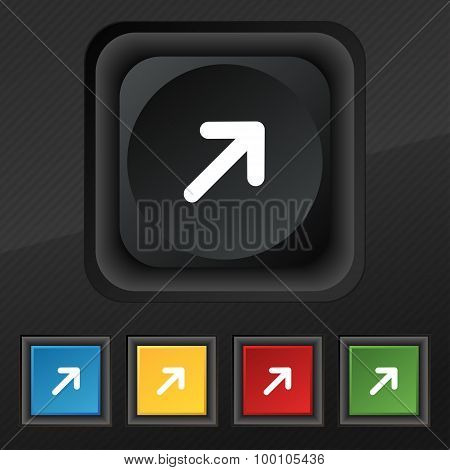 Arrow Expand Full Screen Scale  Icon Symbol. Set Of Five Colorful, Stylish Buttons On Black Texture