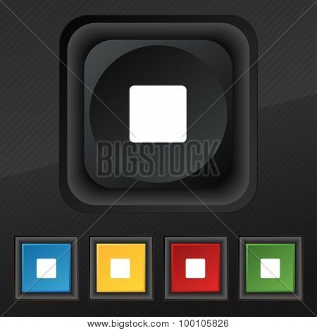 Stop Button  Icon Symbol. Set Of Five Colorful, Stylish Buttons On Black Texture For Your Design. Ve