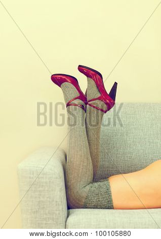 Sexy Female Legs With Red Heels.