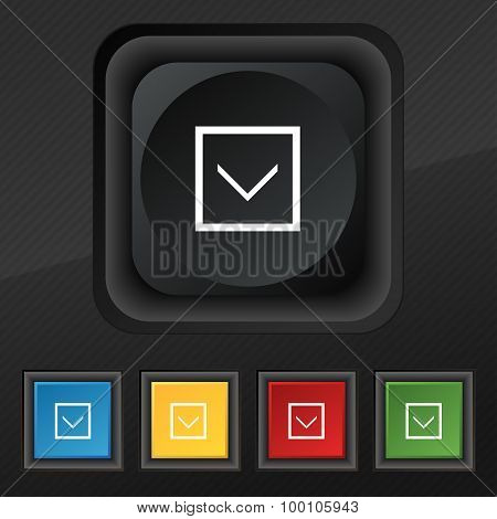 Arrow Down, Download, Load, Backup  Icon Symbol. Set Of Five Colorful, Stylish Buttons On Black Text