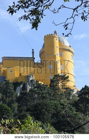 Yellow Part Overview Of Pena Nacional Palace In Sintra