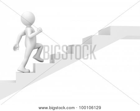 An image of a funny little man climbing stairs