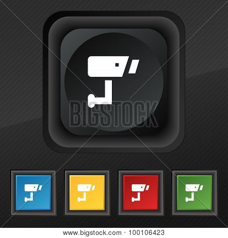Surveillance Camera  Icon Symbol. Set Of Five Colorful, Stylish Buttons On Black Texture For Your De