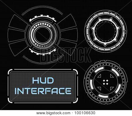 Concept futuristic white virtual graphic touch user interface.