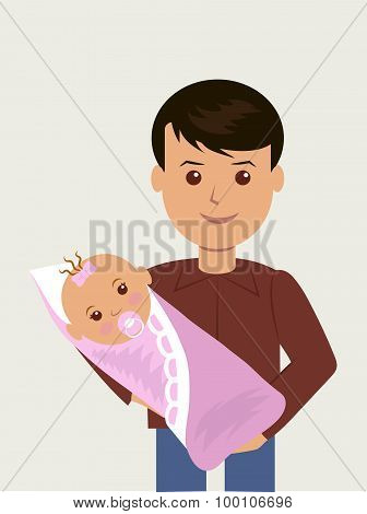 Happy father with his newborn daughter.