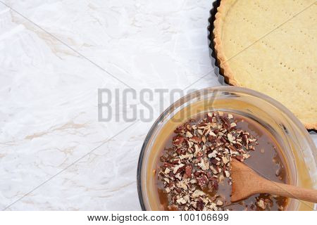 Baking Pecan Pie - Pie Filling And Pastry Crust