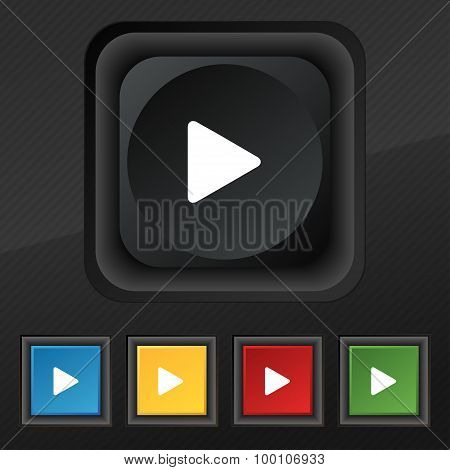 Play  Icon Symbol. Set Of Five Colorful, Stylish Buttons On Black Texture For Your Design. Vector
