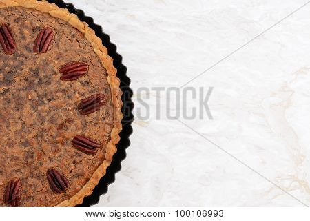 Freshly Baked Pecan Pie In The Baking Tin