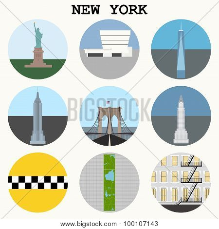 New York City  - Vector Icons Set