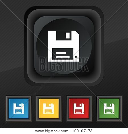 Floppy  Icon Symbol. Set Of Five Colorful, Stylish Buttons On Black Texture For Your Design. Vector