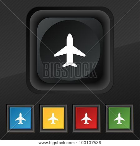 Airplane, Plane, Travel, Flight  Icon Symbol. Set Of Five Colorful, Stylish Buttons On Black Texture