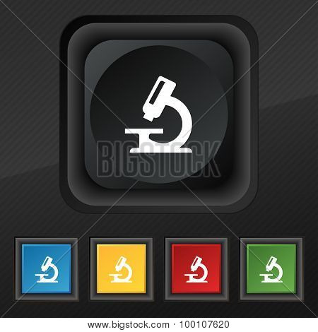 Microscope  Icon Symbol. Set Of Five Colorful, Stylish Buttons On Black Texture For Your Design. Vec