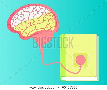 Concept of education. The human brain is a wire connected to a book. Vector illustration