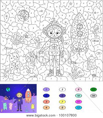 Color By Number Educational Game For Kids. Astronaut, Aliens And Rocket On The Planet. Vector Illust