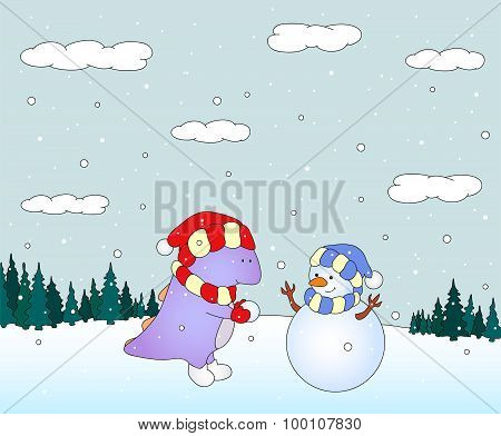 Cute Chubby Dragon Sculpts Snowman In A Snowy Forest. Christmas Postcard