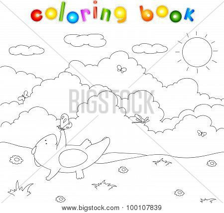 Cute Chubby Dragon Is Playing With Dragonflies And Butterflies On Blooming Spring Meadow. Coloring F