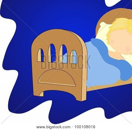 Boy Sleeping On The Bed With A Pillow And Blanket