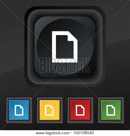 Text File Document  Icon Symbol. Set Of Five Colorful, Stylish Buttons On Black Texture For Your Des