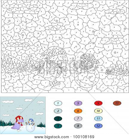 Color By Number Educational Game For Kids. Purple Dragon And Cute Snowman In The Winter Forest. Vect