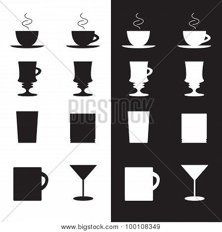 Vector Set Of Cups And Glasses