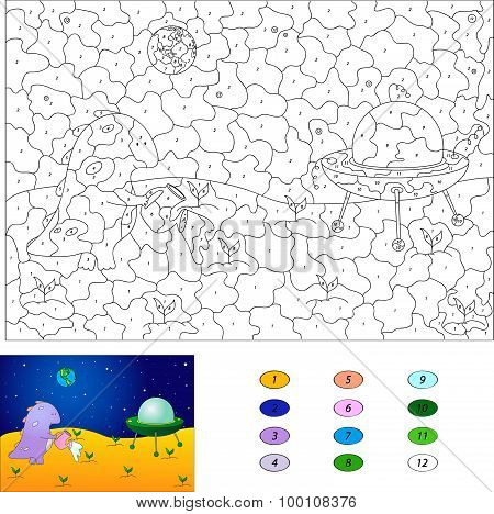 Color By Number Educational Game For Kids. Purple Dragon Watering Plants On The Moon. Flying Saucer
