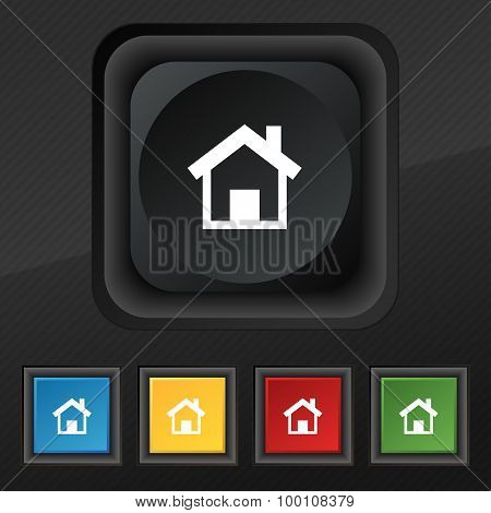 Home, Main Page  Icon Symbol. Set Of Five Colorful, Stylish Buttons On Black Texture For Your Design