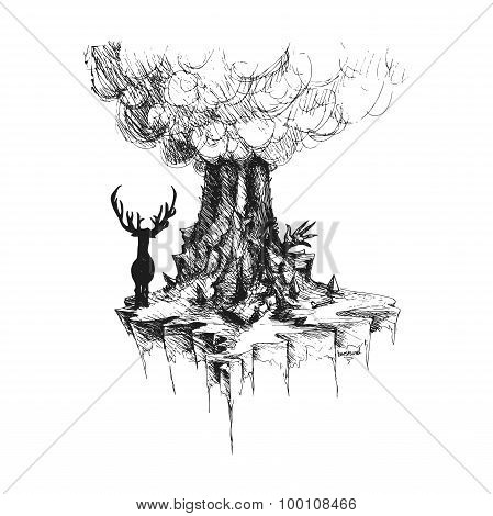 Vector Deer On Island From Rocks And Volcano
